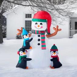 NEW 6ft Christmas Inflatable Penguins Making Snowman Lighted
