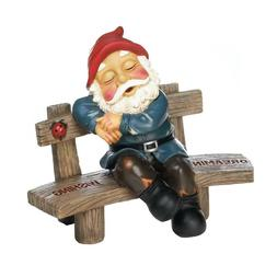New Dreaming Wishing Gnome Garden Bench Lawn Outdoor Decor Y
