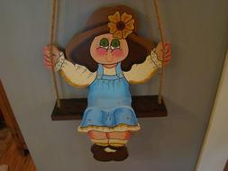 **NEW** Handmade Wood Wall Hanging Yard Decoration Girl On S