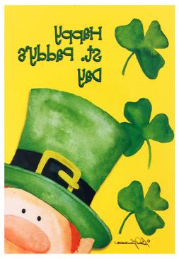 "NEW Happy St. Paddy's Day House Flag 28""X40"" St. Patrick's D"