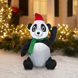 NEW! Holiday Time Inflatable Christmas Panda Bear Lights Up