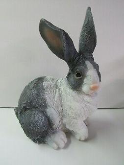 New Large Cast Resin Bunny Rabbit Sitting 2478410 Gray And W