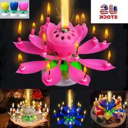 New Musical Lotus Flower Rotating Happy Birthday Candle w/ 1