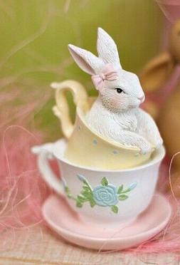 "New Spring Rabbit TEA CUP BUNNY FIGURINE Resin Figure 4"""