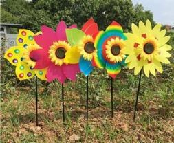 New Sunflower Windmill Wind Spinner Decoration Home Yard Gar