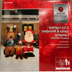 NIB 6.5 foot Lighted Inflatable Santa and Reindeer Sitting A