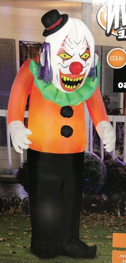 NIB Gemmy 7' Scary Clown Inflatable Pre-Lit Halloween Party