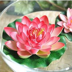 Nice 4pcs Large Artificial Red Floating Lotus Home Garden Po