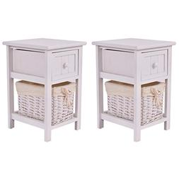 Giantex Set of 2 Mini Night Stand 2 Layer 1 Drawer Bedside E
