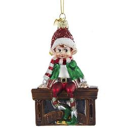 """Kurt Adler 4.5"""" Noble Gems Glass Elf on Mantle Ornament"""