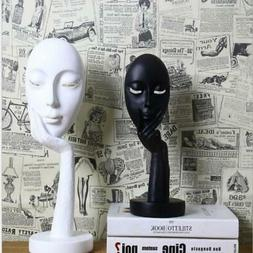 Nordic Gold Black White Face Figurines Resin Masks Ornament
