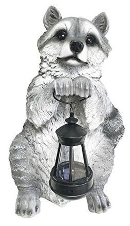 North American Raccoon Statue Holding Solar Powered Lantern