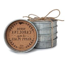 "Occasionally Made 4"" x 4"" x 1"" North Carolina Mason Jar Lid"