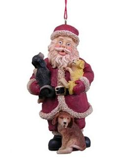 North Pole Santa Claus Ornaments with Dogs