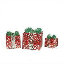 Northlight 3 Sparkling Red Swirl Glitter Gift Boxes Christma