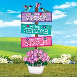 "Novelty ""Its Spring"" Springtime Sign Outdoor Metal Garden St"