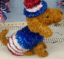 NWT! Patriotic Tinsel Dachshund Uncle Sam Dog USA Americana