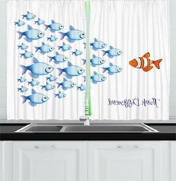 Ocean Animal Decor Kitchen Curtains by Ambesonne, Quote with