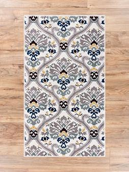 Ogee Waves Geometric Lattice Floral Area Rug Soft Tones Grey