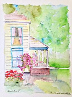 Old House in Springtime - Cleburne, Texas -- Original Hand P
