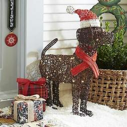 "ON SALE 28"" LED Woven Christmas Santa Dog Yard Decor"