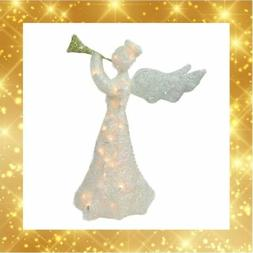 "ON SALE 29"" Lighted Glittered Trumpeting Angel Christmas Dec"