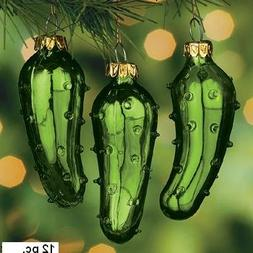 One Dozen Hand Blown Glass Pickle Christmas Tree Ornaments