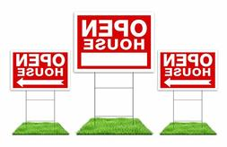Open House Sign Kit - 3 Double Sided Signs & 3 Heavy Duty St