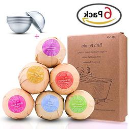 ZesGood Pack of 6 Organic Handmade Bath Bombs with 3 Set Ext