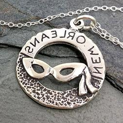 New Orleans Mardi Gras Mask Necklace - 925 Sterling Silver