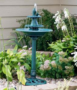 Outdoor Bird Bath Water Fountain Garden Patio Yard Decor Bow