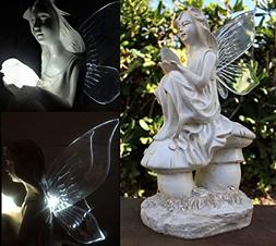 Outdoor Garden Decor Solar Fairy Angel/Cherub Statue Sculptu