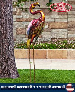 Outdoor Lawn Ornament Statue Bird Flamingo Yard Decor Metall