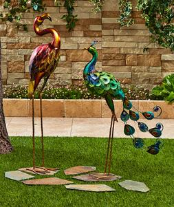 Outdoor Lawn Ornaments Statues Birds Flamingo Peacock Yard D