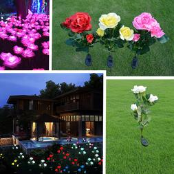 Outdoor LED Solar Rose Flower Stake Lights Garden Yard Lawn