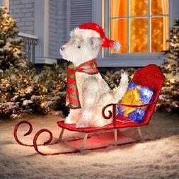 Outdoor Lighted Husky on Sled Christmas Sculpture Yard Decor