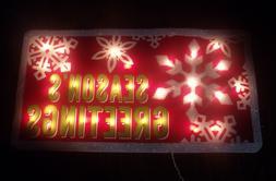 OUTDOOR LIGHTED MERRY CHRISTMAS SEASONS GREETINGS SIGN YARD