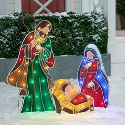 OUTDOOR LIGHTED PRE LIT NATIVITY SET DISPLAY SCENE CHRISTMAS