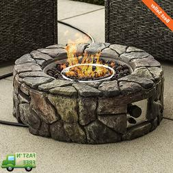 Outdoor Patio Natural Stone Gas Fire Pit Yard Decor w/ Lava