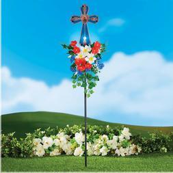 Outdoor Solar Cross Stake Holiday Yard Decoration Patriotic