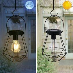 Outdoor Solar Lantern Hanging Light Metal LED Yard Garden La