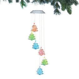 Collections Etc Outdoor Solar Lighted Christmas Trees Hangin