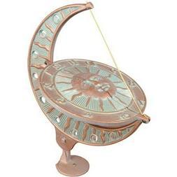 Outdoor Sun and Moon Sundial Calendar Clock Vintage Copper Y