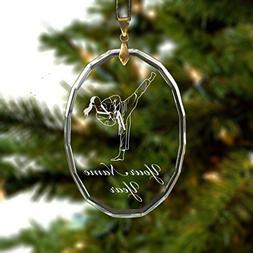 Oval Crystal Christmas Ornament - Taekwondo Woman - Personal