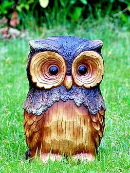 OWL ANIMAL GARDEN STATUE 11.5-in Resin Yard Decor Outdoor La