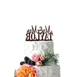P Lab Personalized Cake Topper Mr. Mrs. Last Name Custom Wed