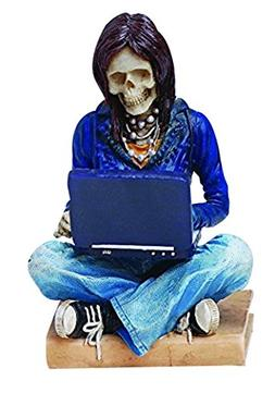 PTC Pacific Giftware Resin Skeleton Girl with Laptop Surf To