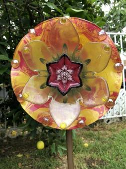 Painted Glass Bowl Garden Flower, Suncatcher, Yard Art Ornam