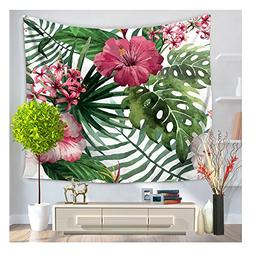HOMTOD Palm And Floral Wall Tapestry Wall Art Home Decor Han