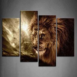 Firstwallart 4 Panel Wall Art Brown Fierce Lion Against Stor